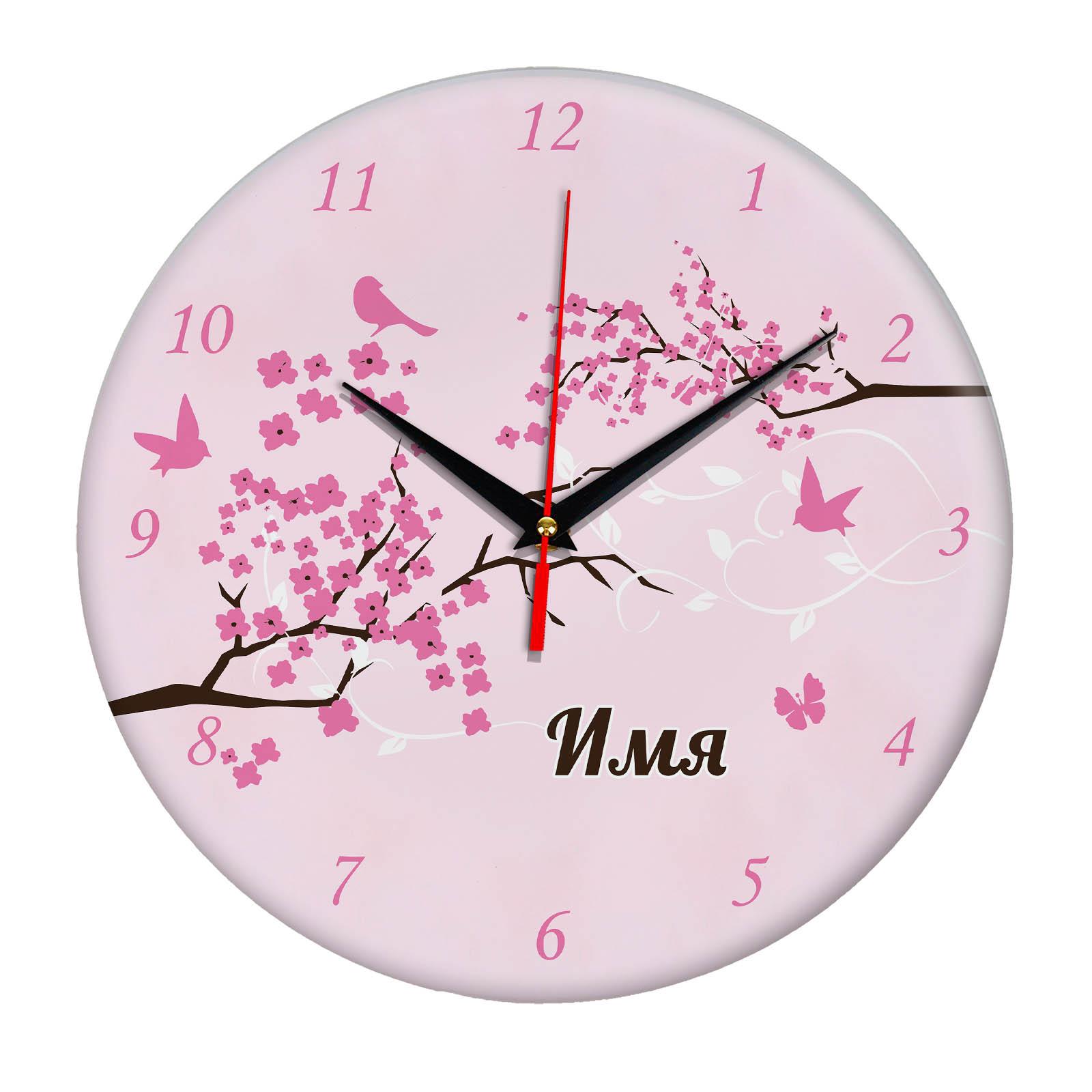 Именные настенные часы с дизайном «Весна»