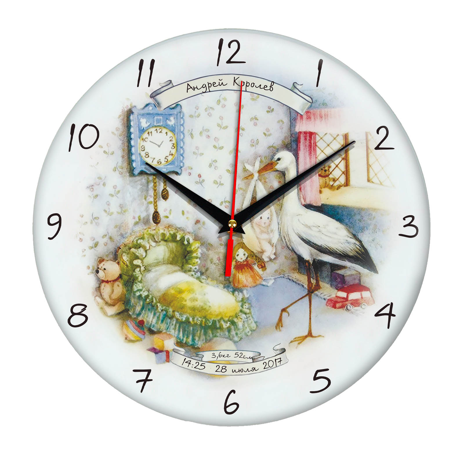 подарок на рождение ребенка - именные часы с указанием веса, даты, времени, фамилии и имени ребенка