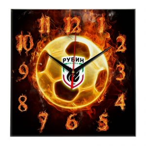 Настенные часы «Огненный футболист Rubin kazan»