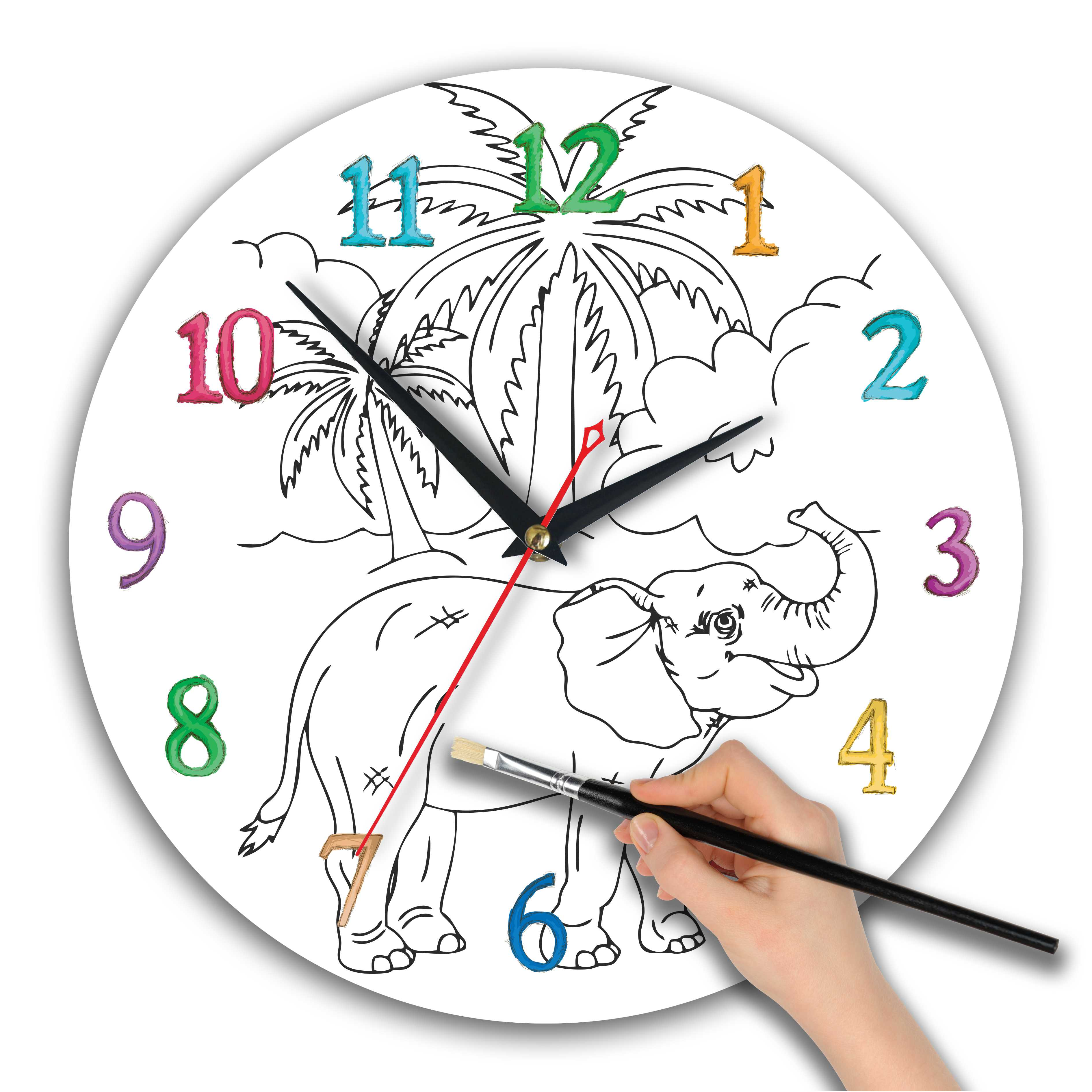 часы раскраска для детей «Белочка с орехом»