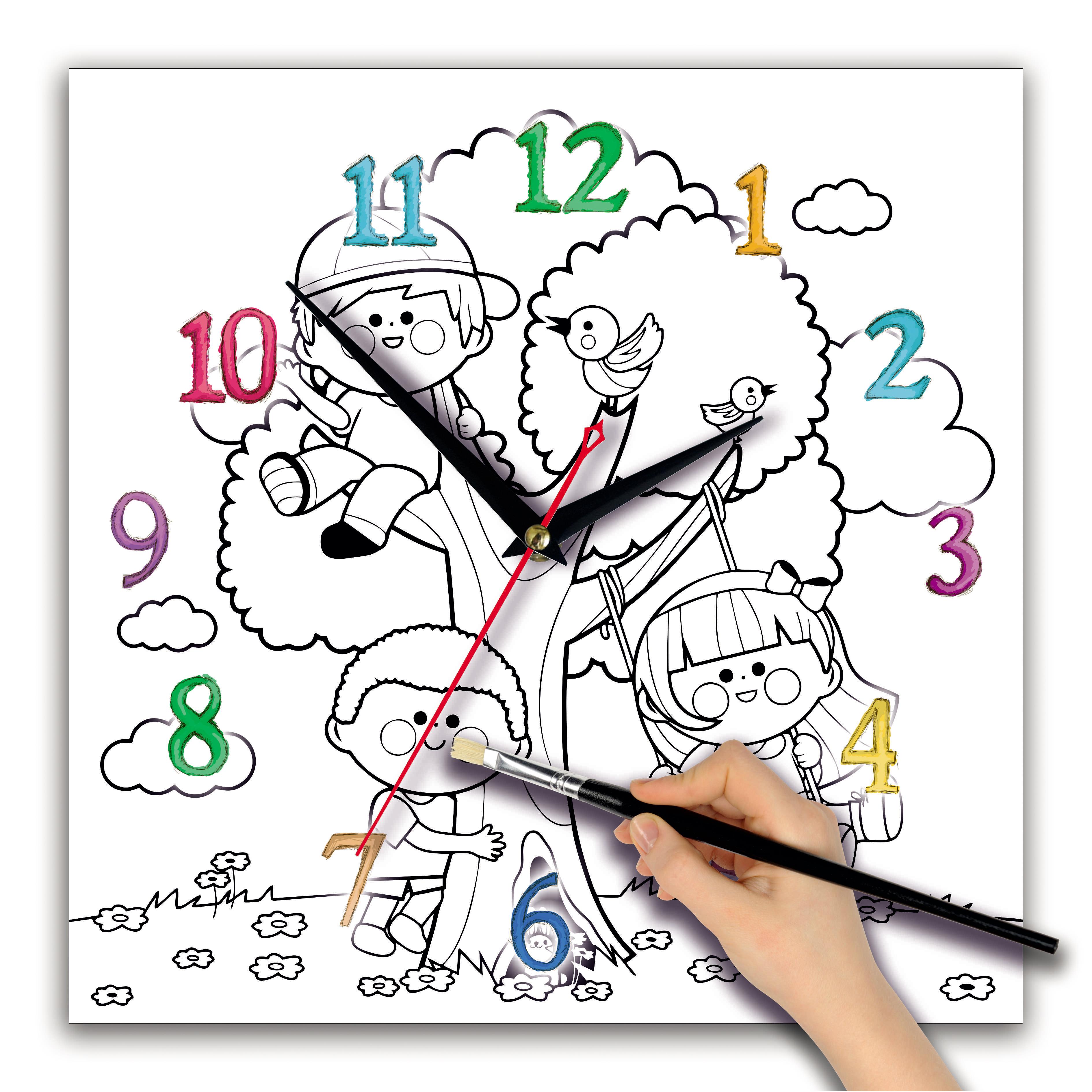часы раскраска для детей «Дети на качелях»