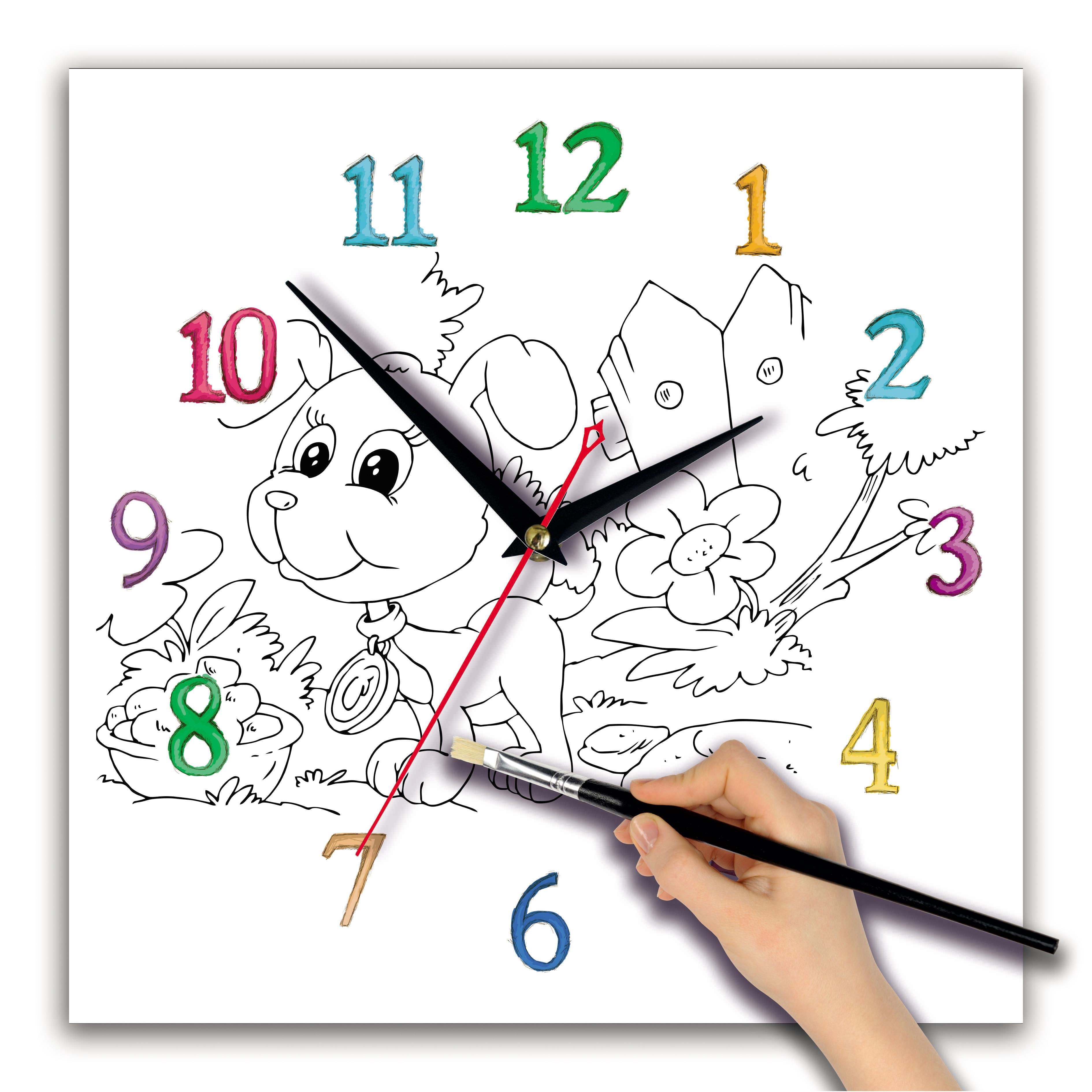 часы раскраска для детей «Щенок»