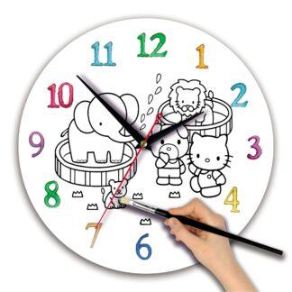 Детская раскраска часы «Китти»