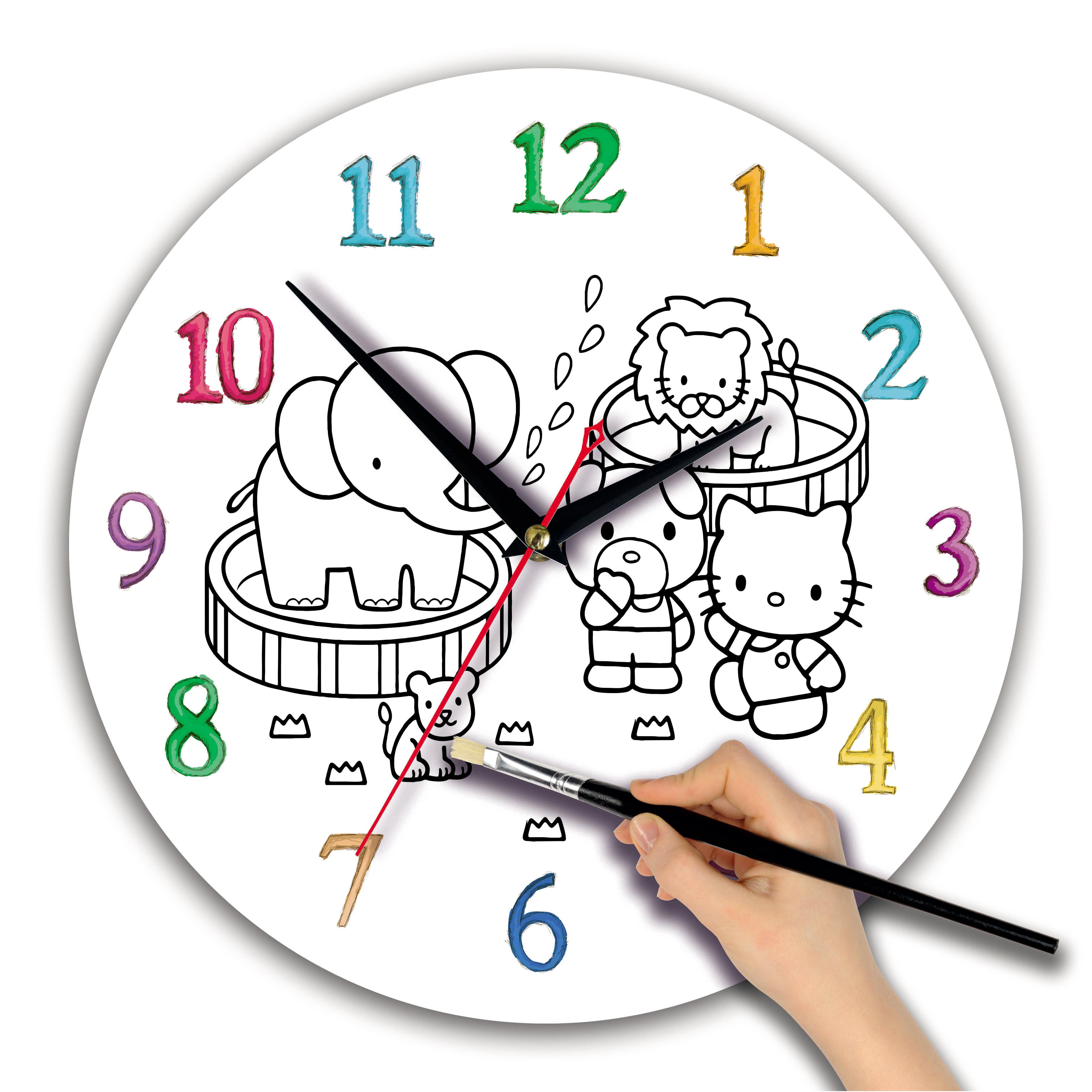 """Детская раскраска часы """"Китти"""""""