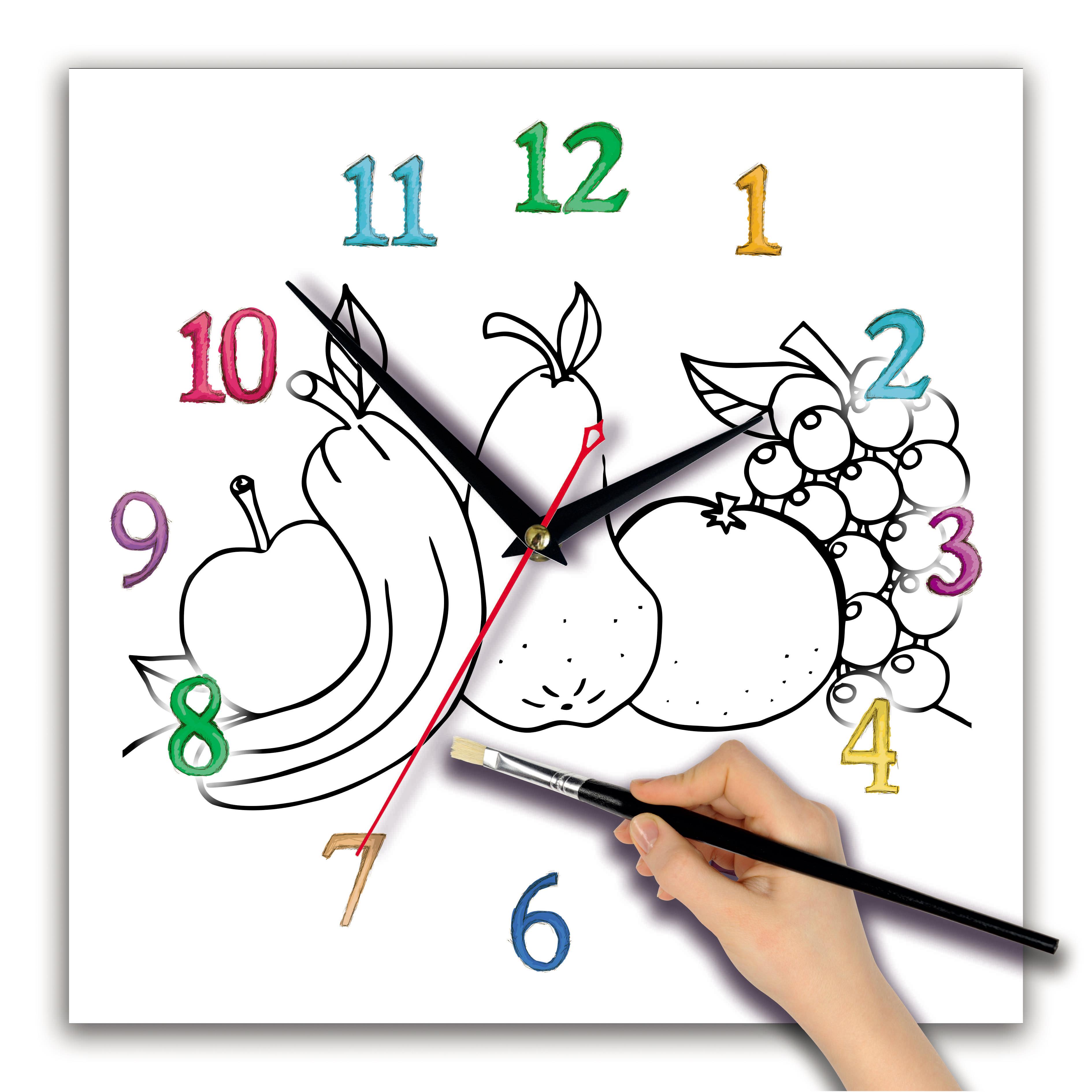часы раскраска для детей «Фрукты «