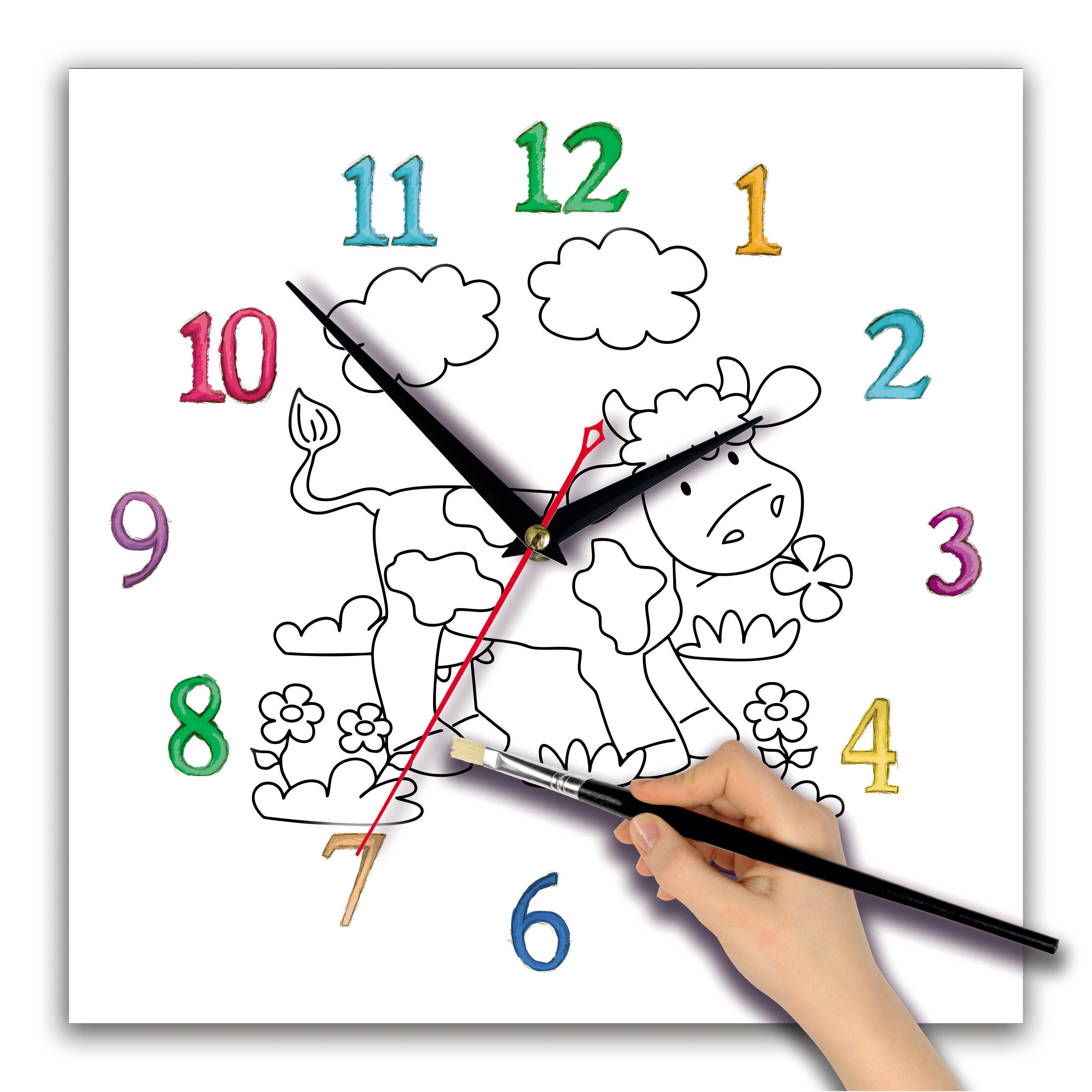 Детская раскраска часы «Коровка»