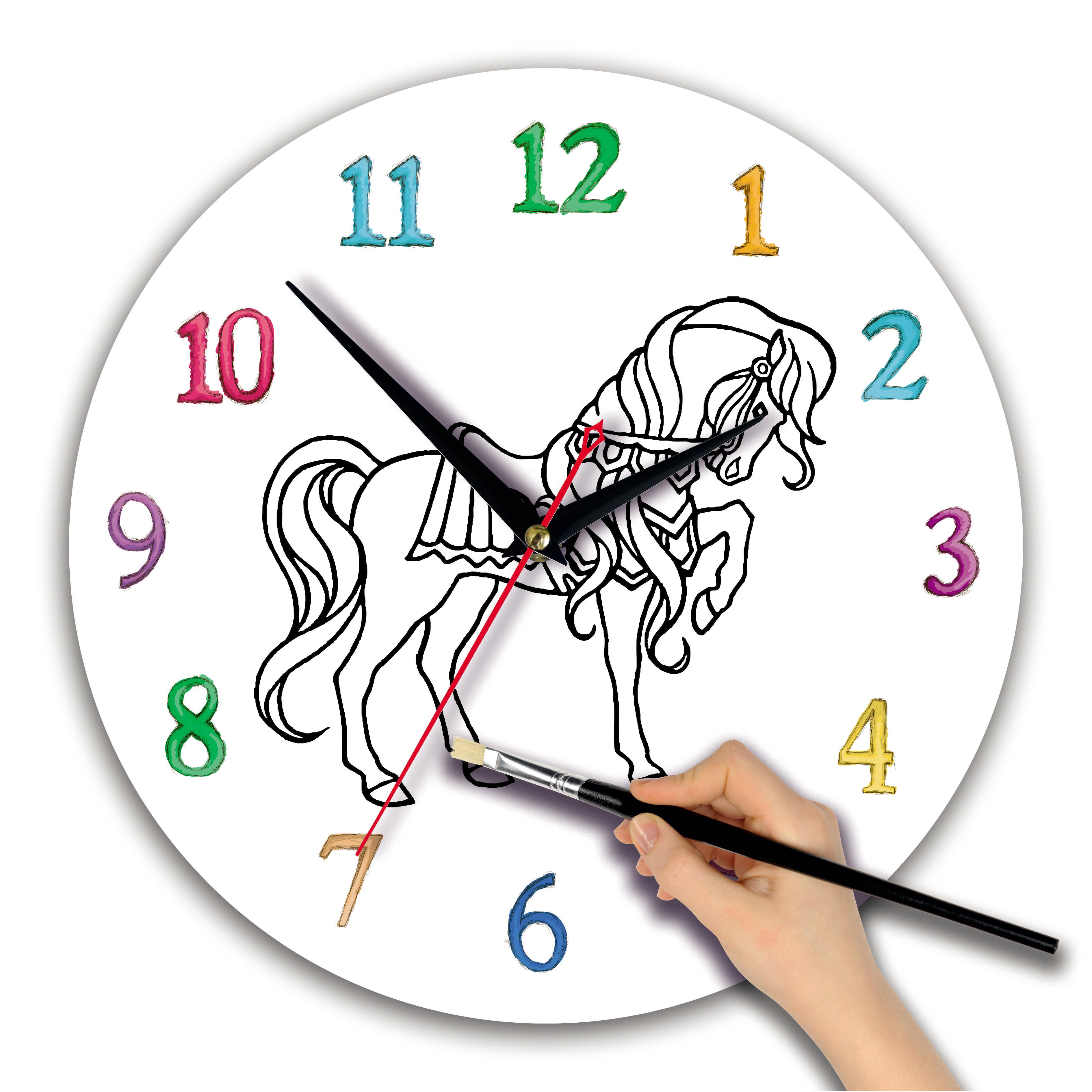 часы раскраска для детей «Лошадка»