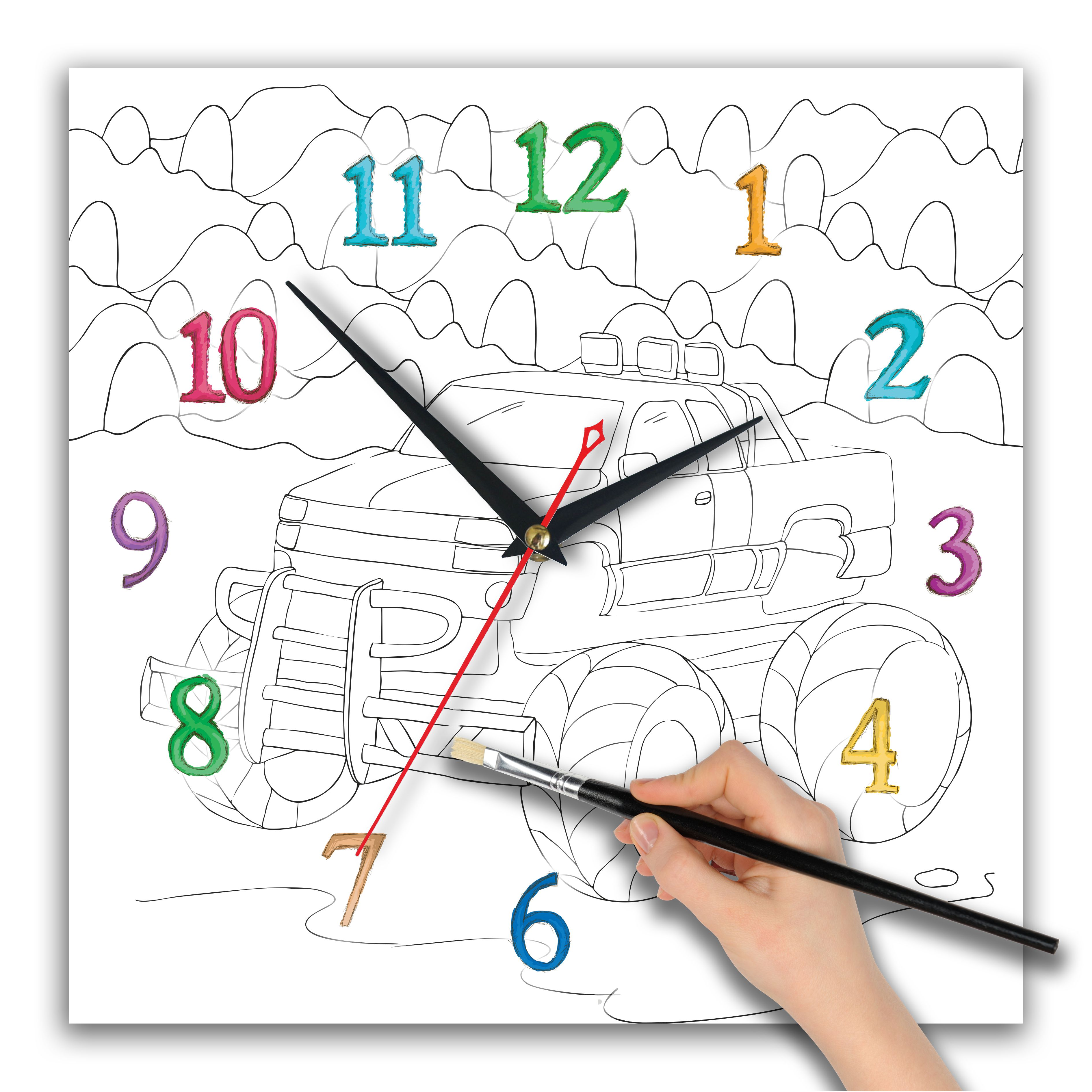 часы раскраска для мальчиков «Спортивная тачка»