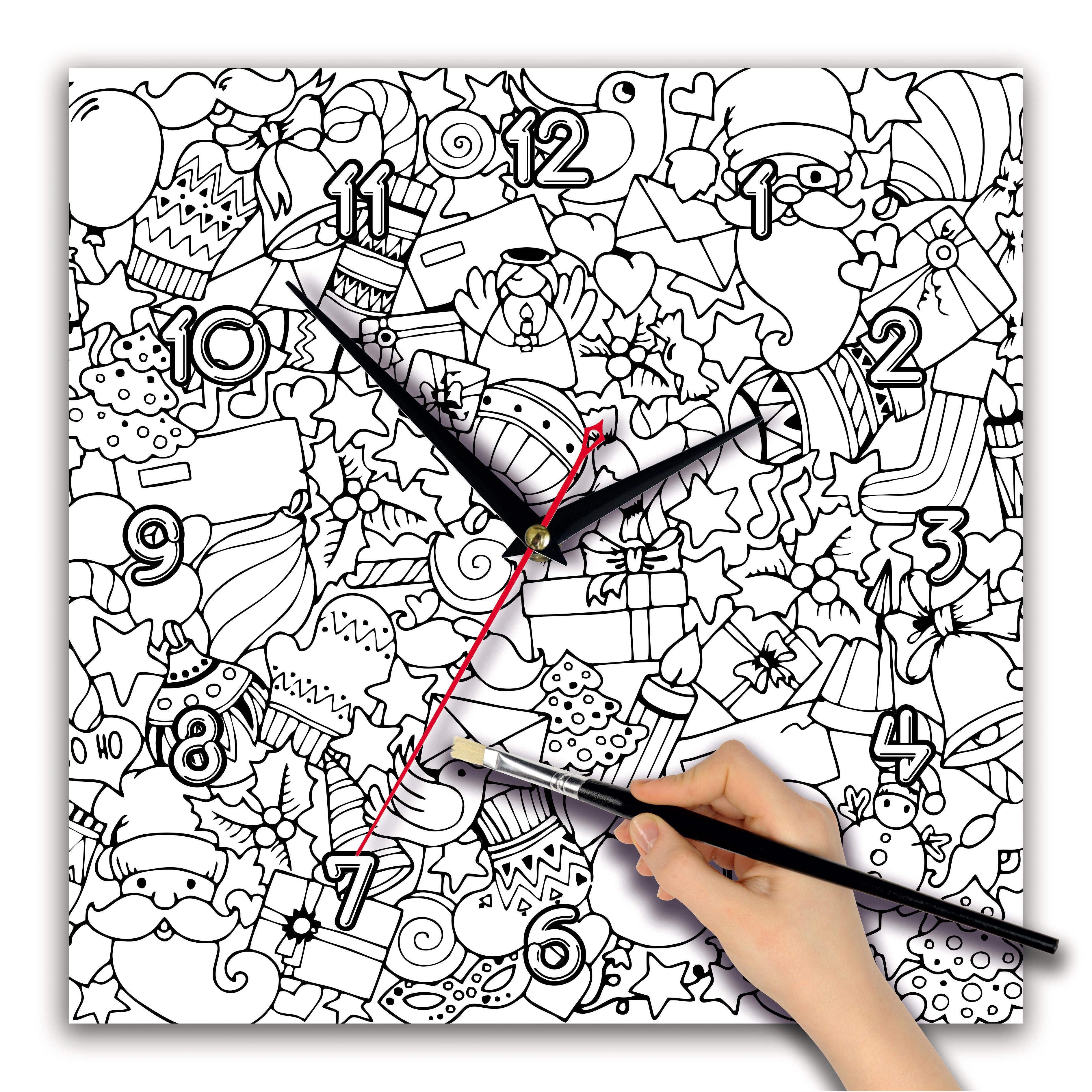Часы раскраска «Новогодний узор». Циферблат квадрат 280х280 мм