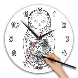 Часы раскраска. Матрешка акварель