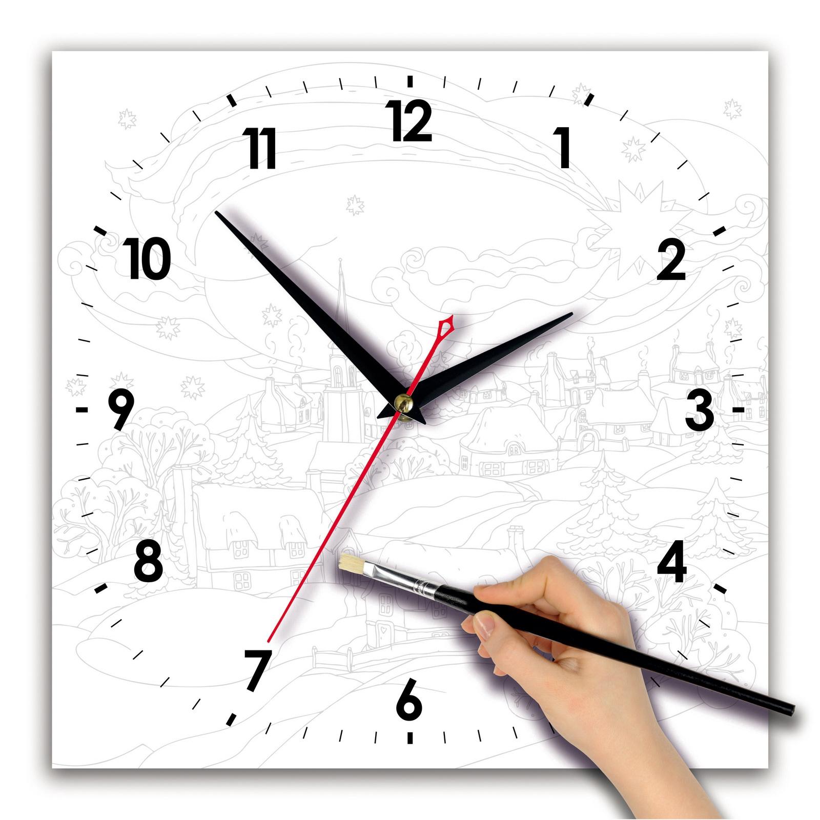 Часы раскраска «Зимний пейзаж акварелью»