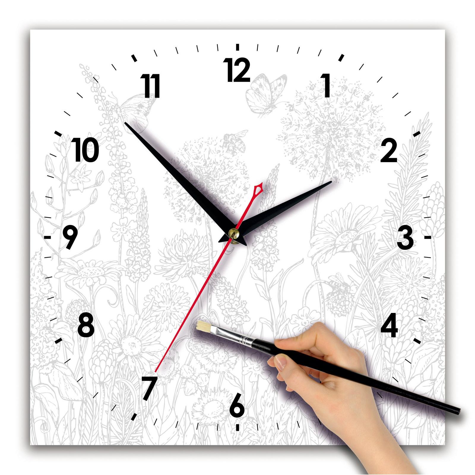 Часы раскраска сложная «Луговые цветы»