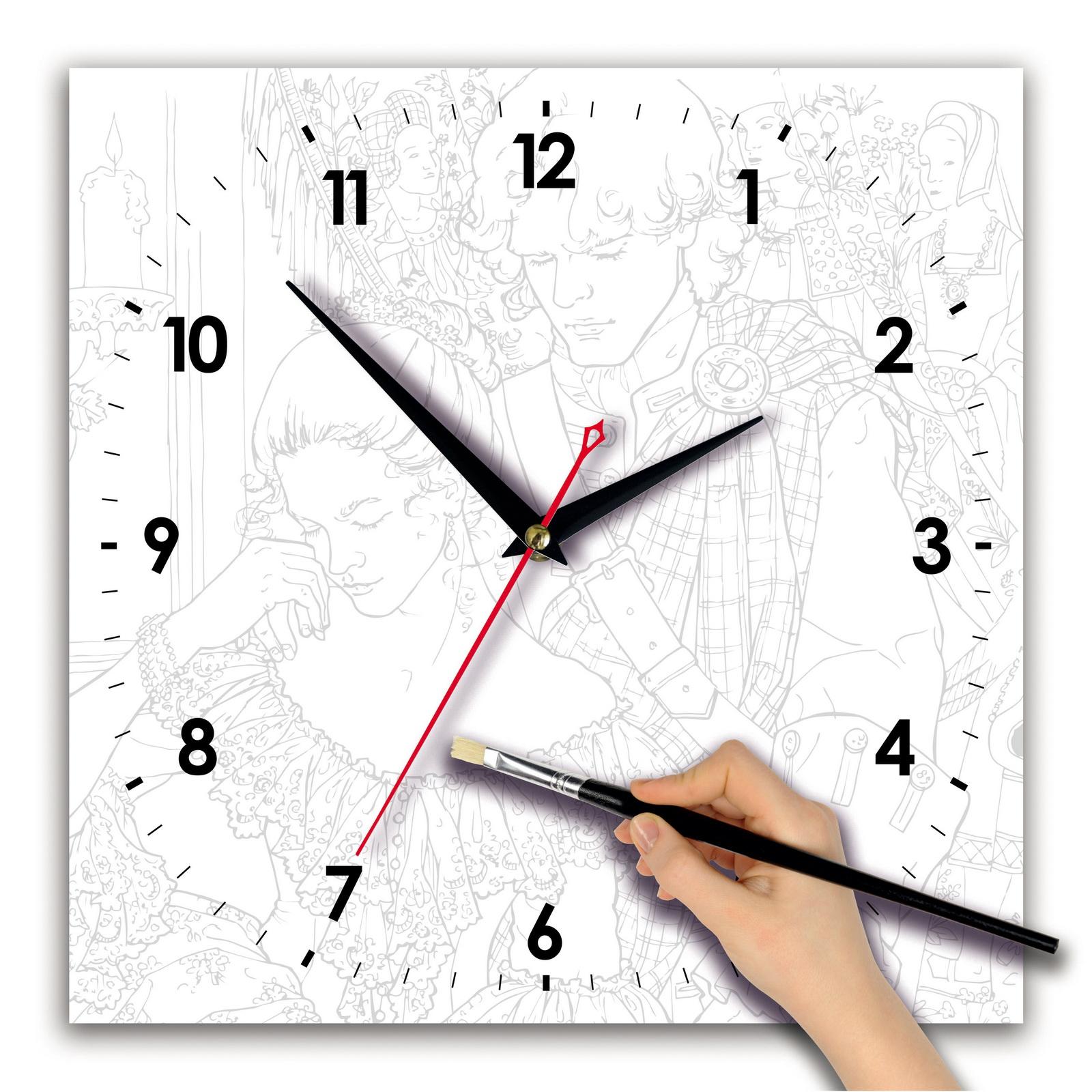 Часы раскраска «Портрет акварелью»