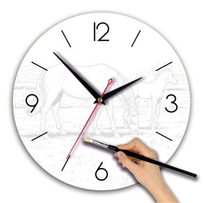 Часы раскраска акварель «Лошади»