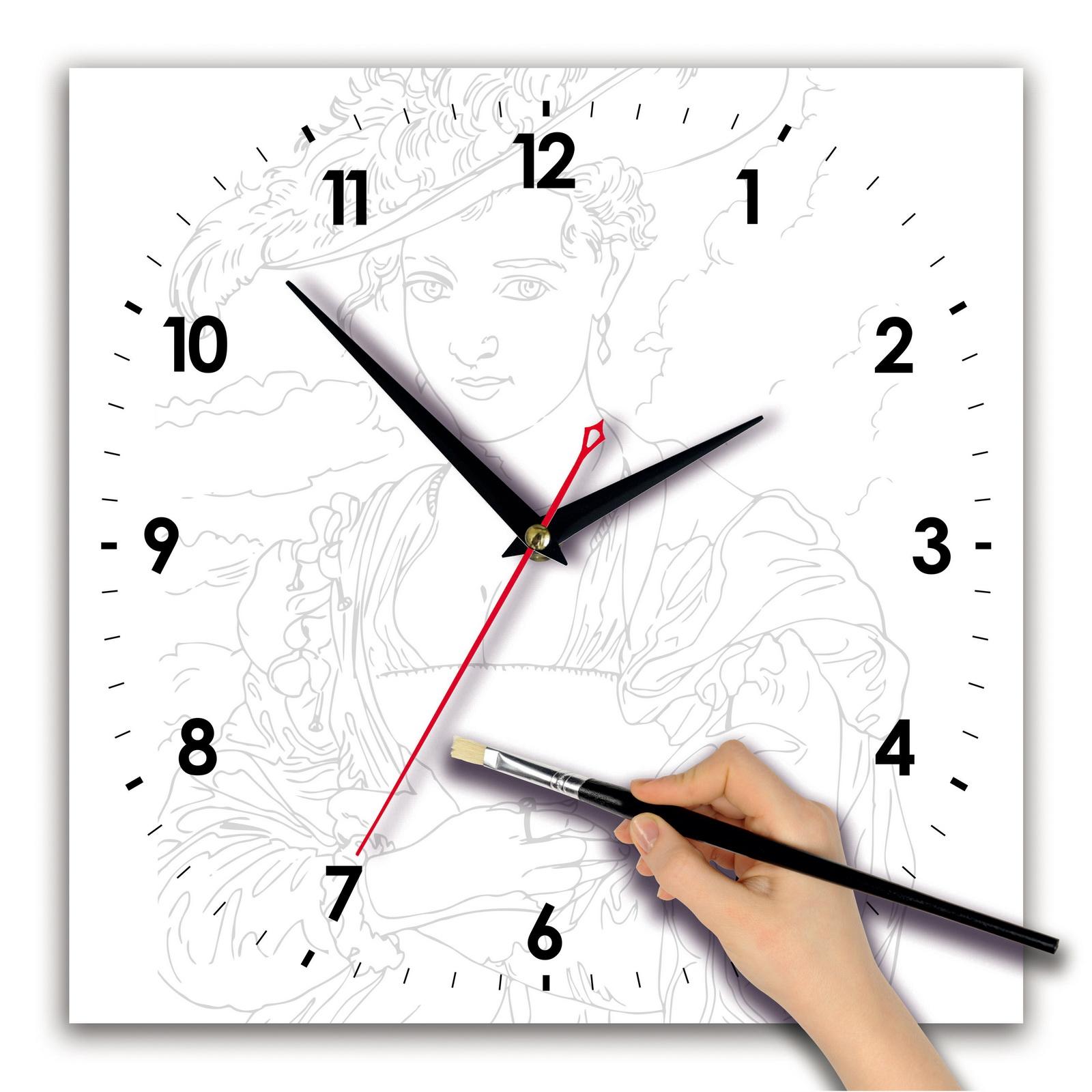 Часы раскраска сложная «Портрет дамы»