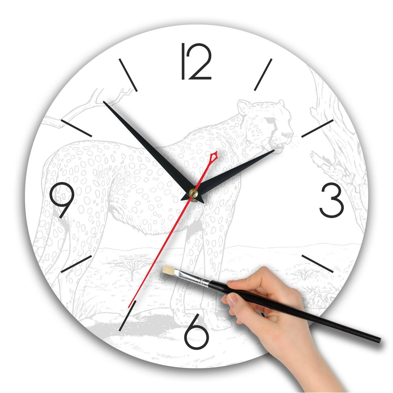 Часы раскраска акварельная «Леопард в соване»