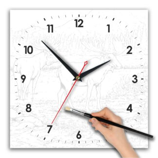 Часы раскраска «Лоси». Циферблат квадрат 280х280 мм