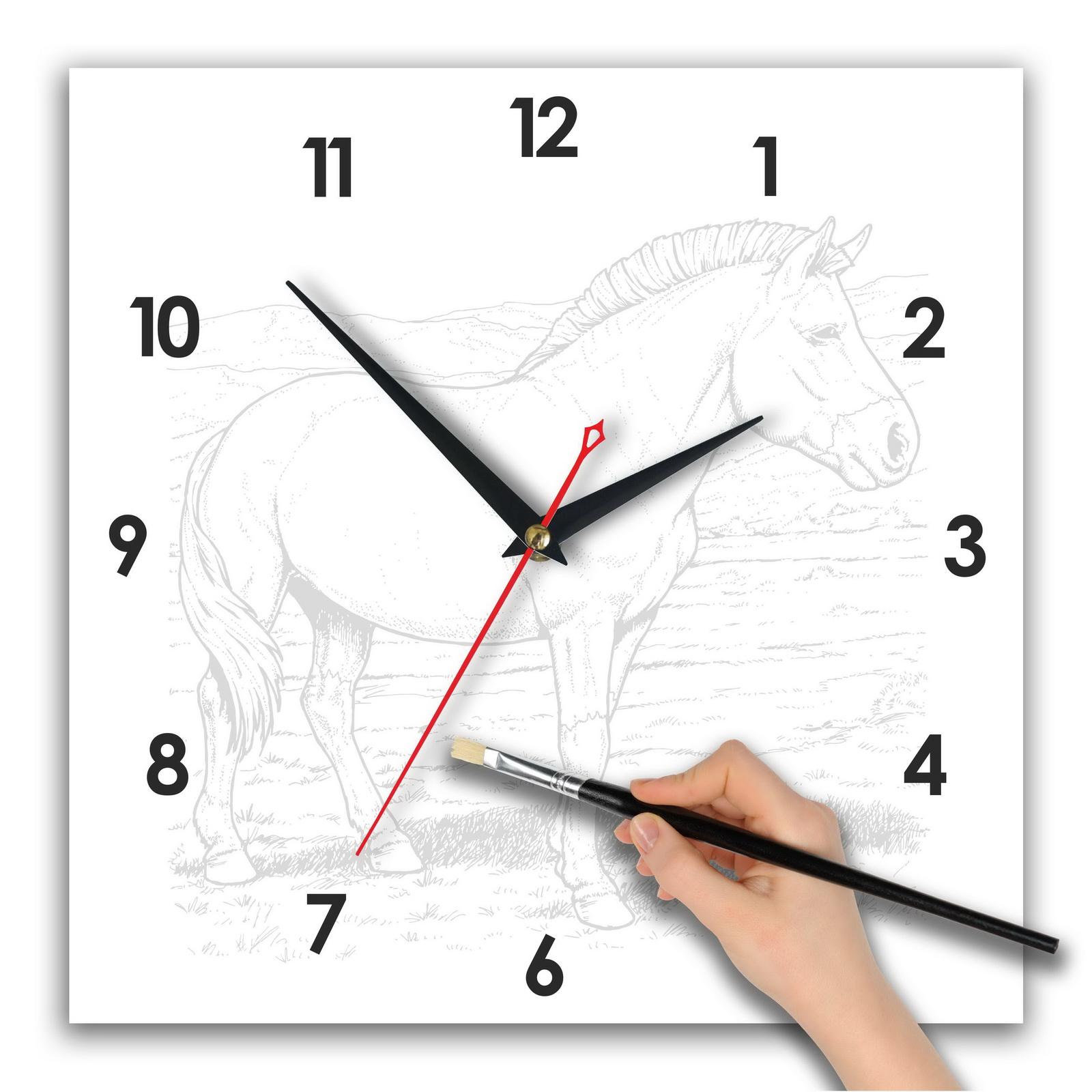 Часы раскраска. набор с акварелью «Лошадь Прожевальского»