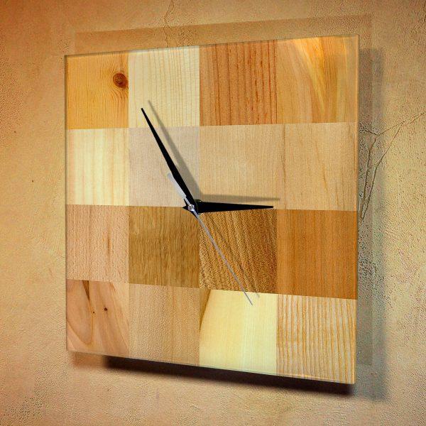 """Дизайнерские настенные деревянные часы """"WoodGlass"""" 17"""