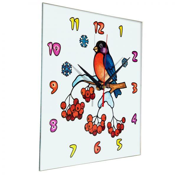 Часы раскраска для детей «Птичка на ветке рябины»