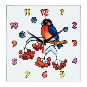 """Часы раскраска для детей """"Птичка на ветке рябины"""""""