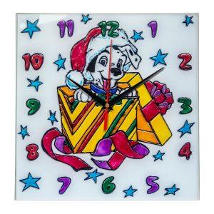 """Часы раскраска на стекле для детей """"Новогодний подарок"""""""