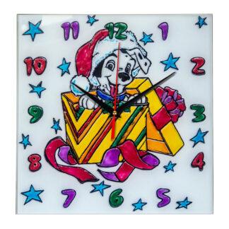 Часы раскраска на стекле для детей «Новогодний подарок»