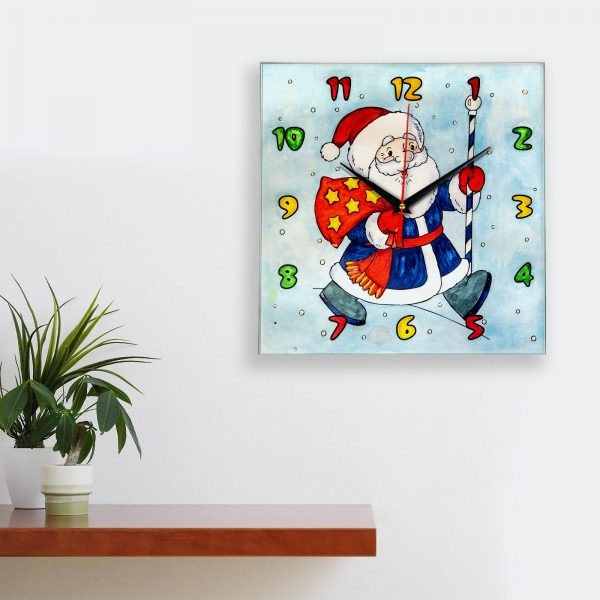 Часы раскраска для детей «Дед мороз несет подарки»