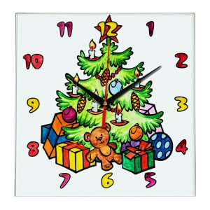 Часы раскраска для детей «Новогодняя ёлочка»