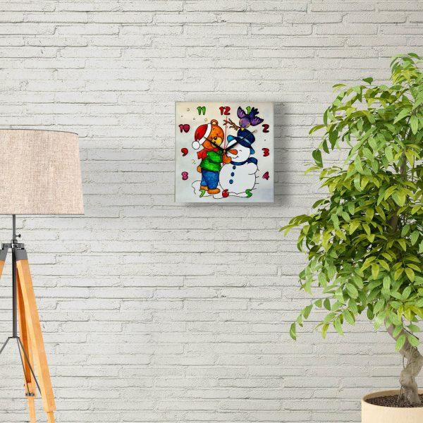 Часы раскраска для детей «Снеговик и его друзья»