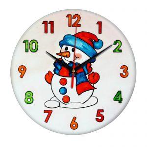 Часы раскраска для детей «Снеговик»
