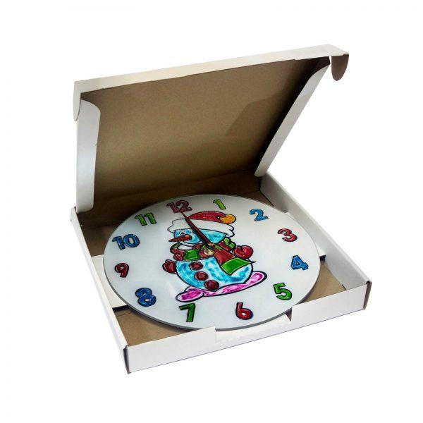 Часы раскраска на стекле для детей «Снеговик в шапке»