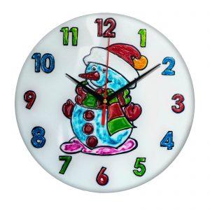 """Часы раскраска на стекле для детей """"Снеговик в шапке"""""""