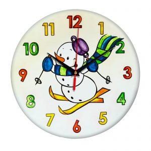 Часы раскраска для детей «Снеговик на лыжах»