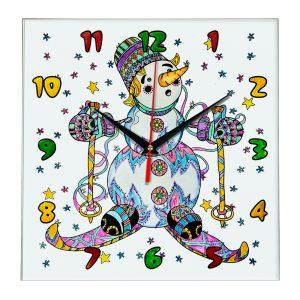 Часы с раскраской для детей «Праздничный снеговик»